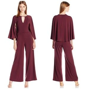 GUESS Maroon Cape Jumpsuit
